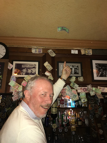 Pinning money on the wall (er...ceiling) is a tradition and several times a year its all giving to local charities.