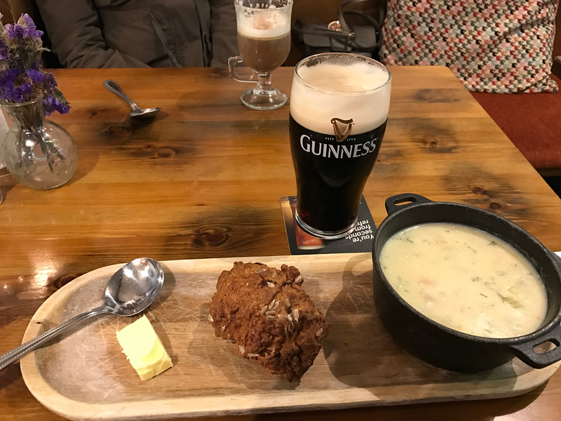 Great seafood chowder with brown bread and, naturally, a Guiness!