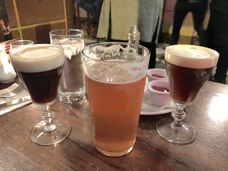 """Last full meal in Ireland at Kennedy's Pub near our hotel.  Got two free Irish coffees as the bartender mixed them """"wrong"""" and offered them to us.  Tasted just fine!"""