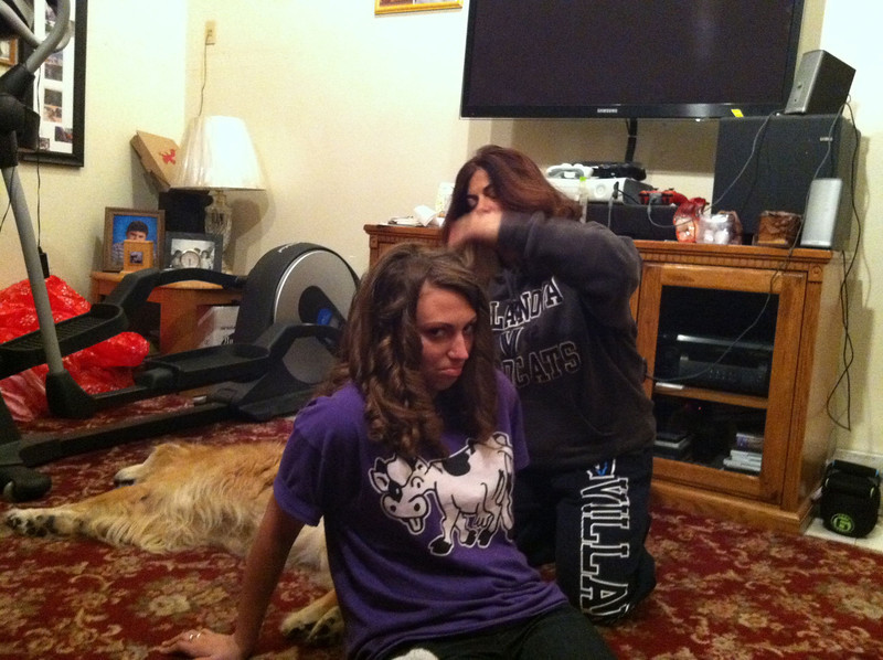 Kayla trying to curl her hair New Year's Day 2013