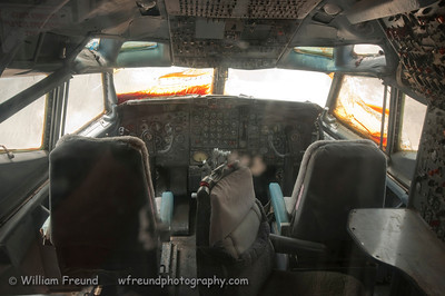 Boeing 707 cockpit.  This was one of the aircraft used during the Entebbe operation.