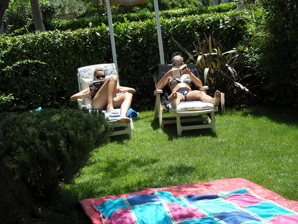 The girls, in the garden of our rental house, in Pietrasanta, Tuscany