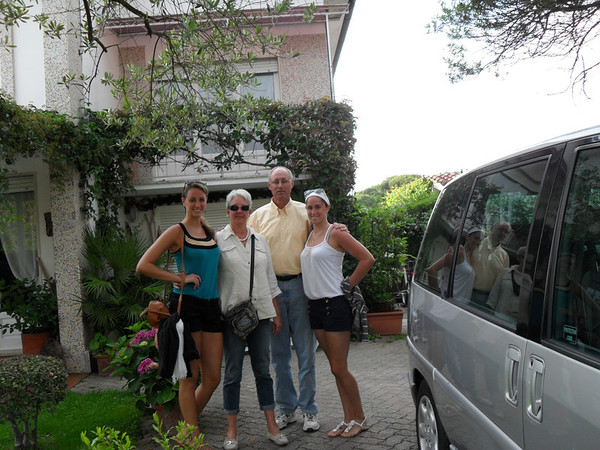 The fam together on our way out to dinner