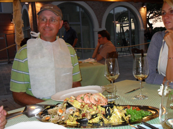 Paella for two at a restaurant in Caorle, near Venice