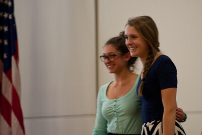 Anisa and Emma share the English award at the Awards Assembly.