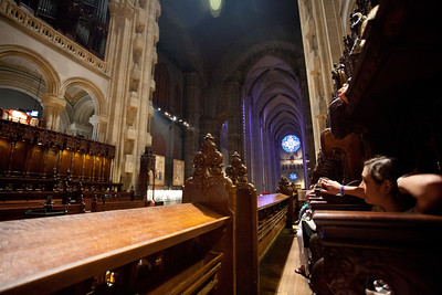 We sit down with a great view of the organist.