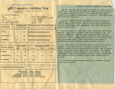 1988-5 Chris Banakis- Cognitive Ability Test