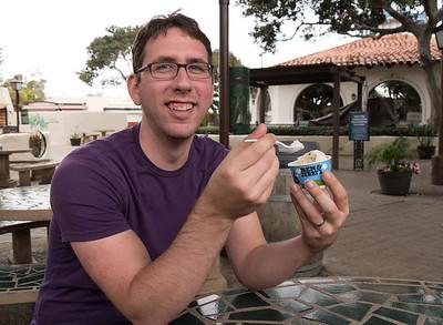 Eating choc chip cookie dough ice cream