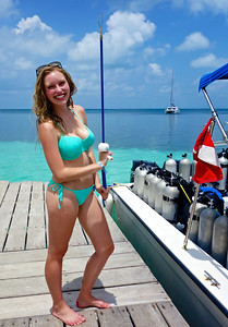 Spear fishing in Belize.