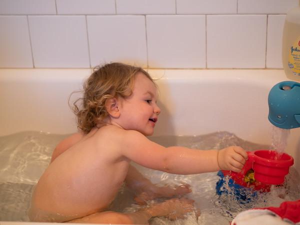 Hannah enjoys baths  - except for hair wash time