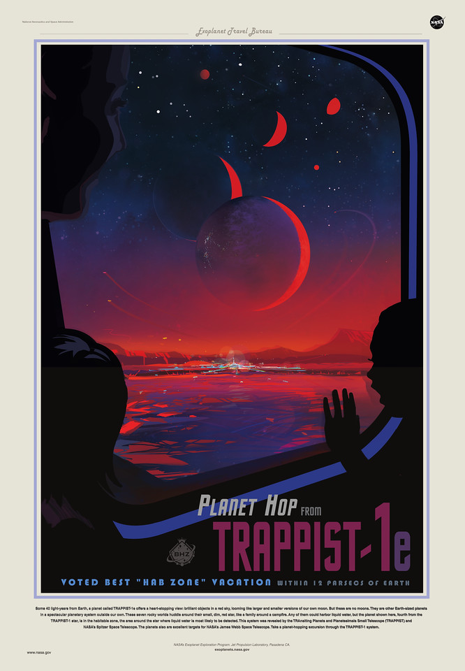 Trappist-1e travel poster from JPL