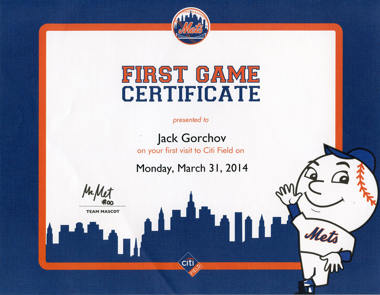 Note: Not actual 1st game but wanted to get certificate, so we guessed.