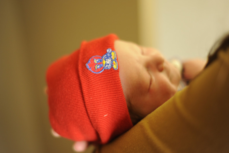 Jack in his Jayhawk gear, preparing for his ride home from the hospital, March, 2012.
