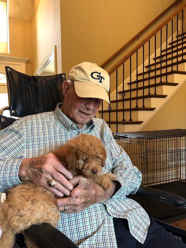This picture was taken of Doug  while he had been transported from the nursing home to Carol's son's house on Memorial Day  5-29-18