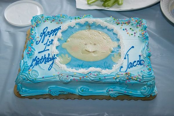 """<br><br><font size=""""3"""">The first birthday cake.</font>"""