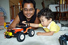 Uncle Rex sharing his favorite toy jeep with Jaden