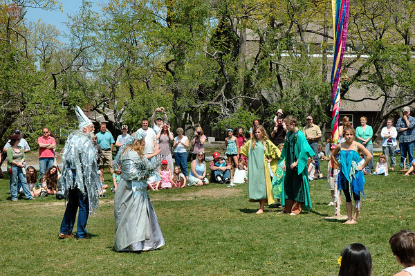 At their coronation, the King and Queen of the May are confronted by the King and Queen of the Winter.