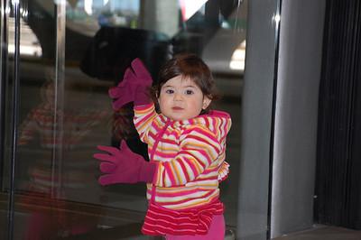 hannah playing at the airport
