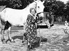 Grandma Beu with large horse on Moline farm.  Jim leaves lots of room.