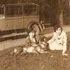 Clara Stuart (Corley) and Gladys Dent and Prince<br /> Crystal Springs Campground at Lake Chautauqua<br /> 1920