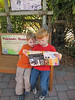 Matthew and Spencer reading the map, Lowery Park Zoo, Tampa, 3/16/2013