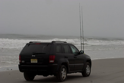 The fishermen are really serious.  They all have rod holders in the front of their SUV's