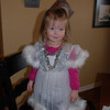Claire dressed up as an angel.