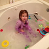 After having a bath, Carlyle snuck back in to the bathtub after she was fully dressed.