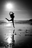 Taken on a beach in Santa Cruz, California.  This must have been in winter as I think we were there to see the butterflies.<br /> <br /> Jaz was in a dance class at school and did some jumps for me against the sun.  To be honest, I was a little surprised how high, gracefully she could jump.