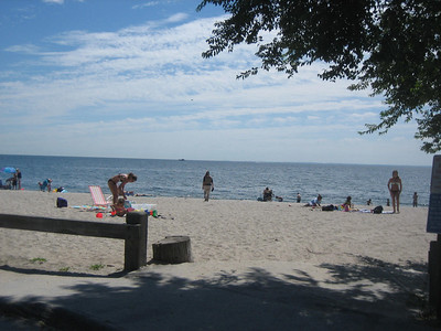 Jean heads for the Atlantic Ocean (beach at Westport, CT)