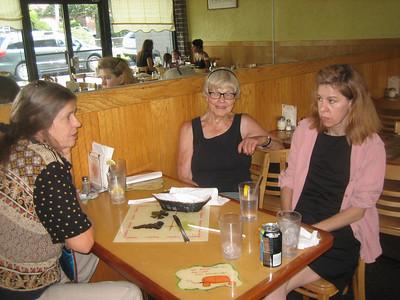 Jean, Barlow, and Jacqui at a restaurant in Westport