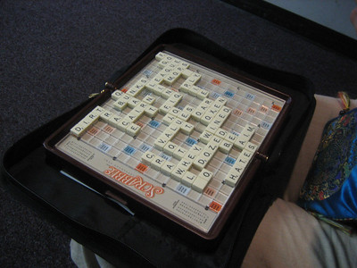 Scrabble game at the airport