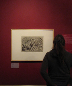Admiring an M.C. Escher print