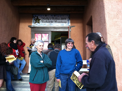 Waiting to enter the theater, Dixon, NM.  The woman in blue (also named Sandy) remembers visiting our parents house in MA back in the 1960's!