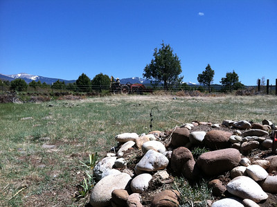 View from Martin's grave as Jimmy dug the irrigation ditch along the cemetery fence.