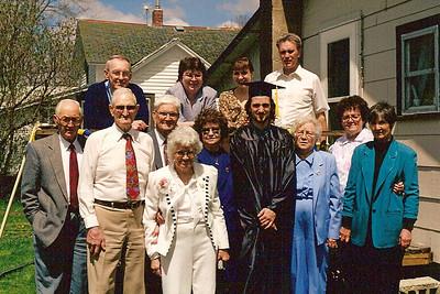 front: Cal Steen, Gpa Voas, Gpa Beatty, Gma Voas, Fern Stein, Jeff, Gma Beatty, Aunt --, Jo; back: Larry, Lori's Mom (?), Lori Fuks, Dwaine