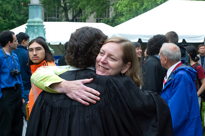Jeff gets to see his mom after graduation.  We did not decide on a randezvous after graduation figuring we would have cell phone.  Unfortunately, Jeff left his in his room.  Mine was discharged, and that is the number he knows so even though he left a message using his friends phone I couldn't get it.  Luckily it only took a few minutes to find him.