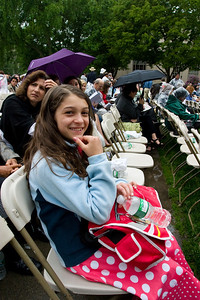 The graduation is in Killian Court and it opened for admission at 7:30 am.  The strategy was for Anisa and me to get there early and hold the seats so the others did not have to sit there as long.  By the time we go there a few hundred people were already inside.  We found a great spot though pretty close to the front but also right in front of the jumbotron wehre they were broadcasting the ceremony.