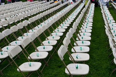 Spectator chairs still unclaimed.