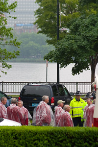 It is the tradition to have the class from 50 years ago join the graduates for commencement.  Here the Class of 1958 lining up in their red jackets with the Charles River in the background.