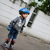 Trying roller blades