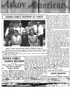 1930 reunion in Askov, MN of Jensen siblings with their father, Hans
