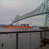 """Container ship """"Saga"""" passing through Astoria via the Columbia River on its way out to the Pacific Ocean"""