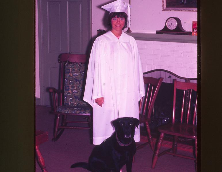 Janet dressed for high school graduation--'71