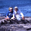 1997 Posing with marine iguanas in Galapagos