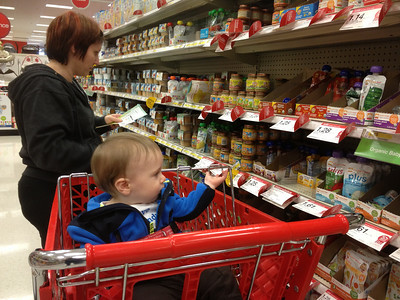 Shopping for baby food.