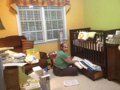 Preparing Joel's room.