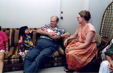 Jo with Grandma and Grandpa at her baby shower and D's 4th BD party 2000