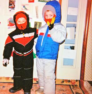joe and pat in snowsuits