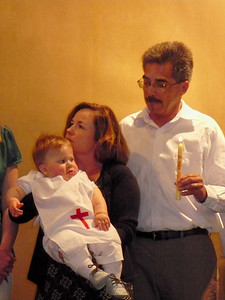 Wearing Daniel Smith's baptismal tabard